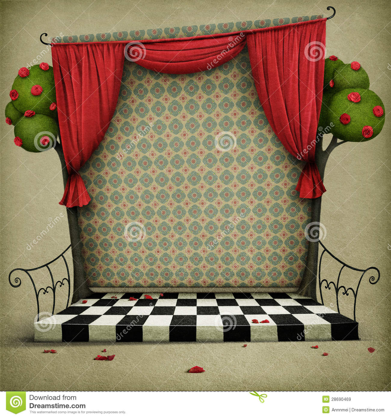 Background with elements of fairy tale Alice in Wonderland