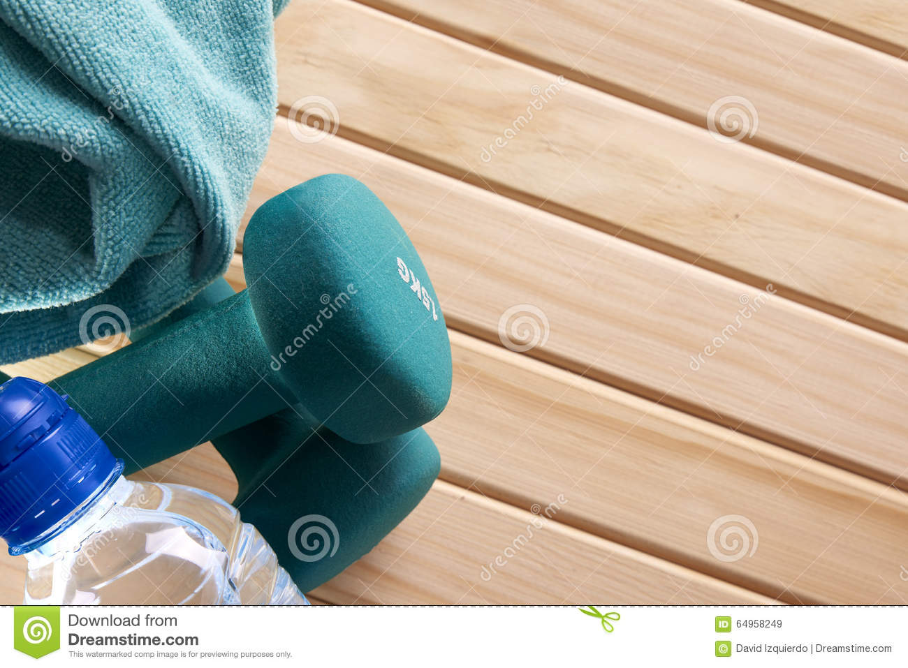 background equipment for sport in gym top view stock photo