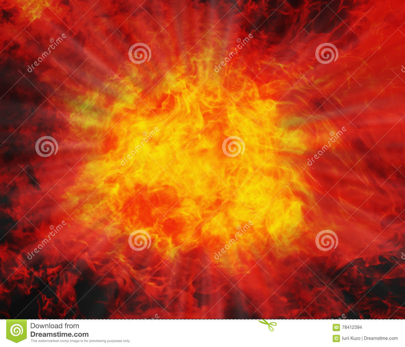 Background of fire. Explosion. Strength, danger, power, energy