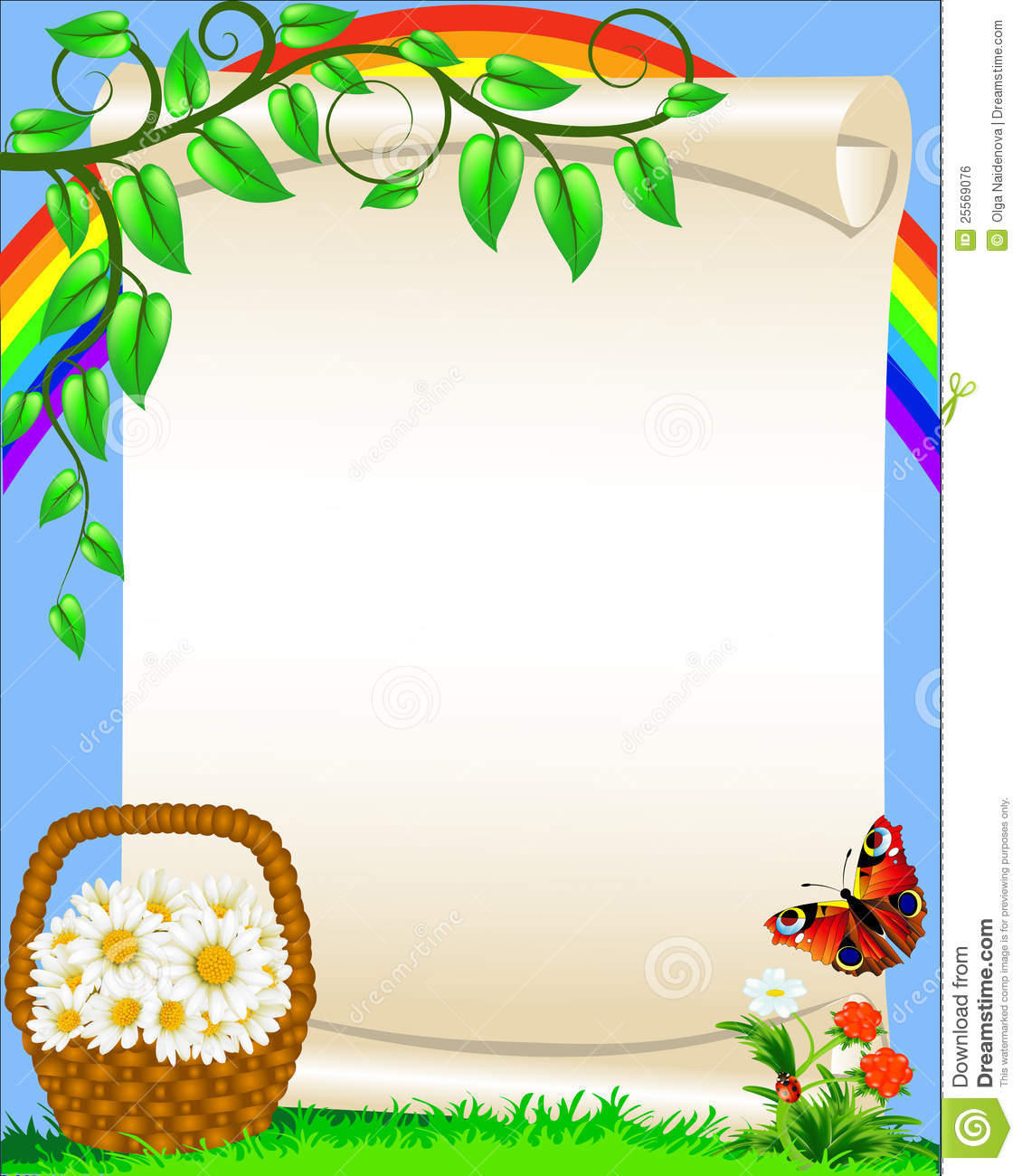 Background With Flower Butterfly And Rainbow Stock