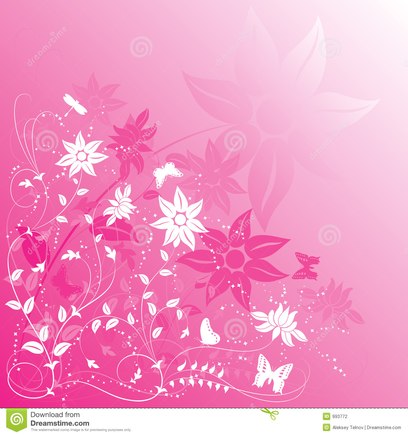 Background Flower With Butterfly, Vector Stock Vector
