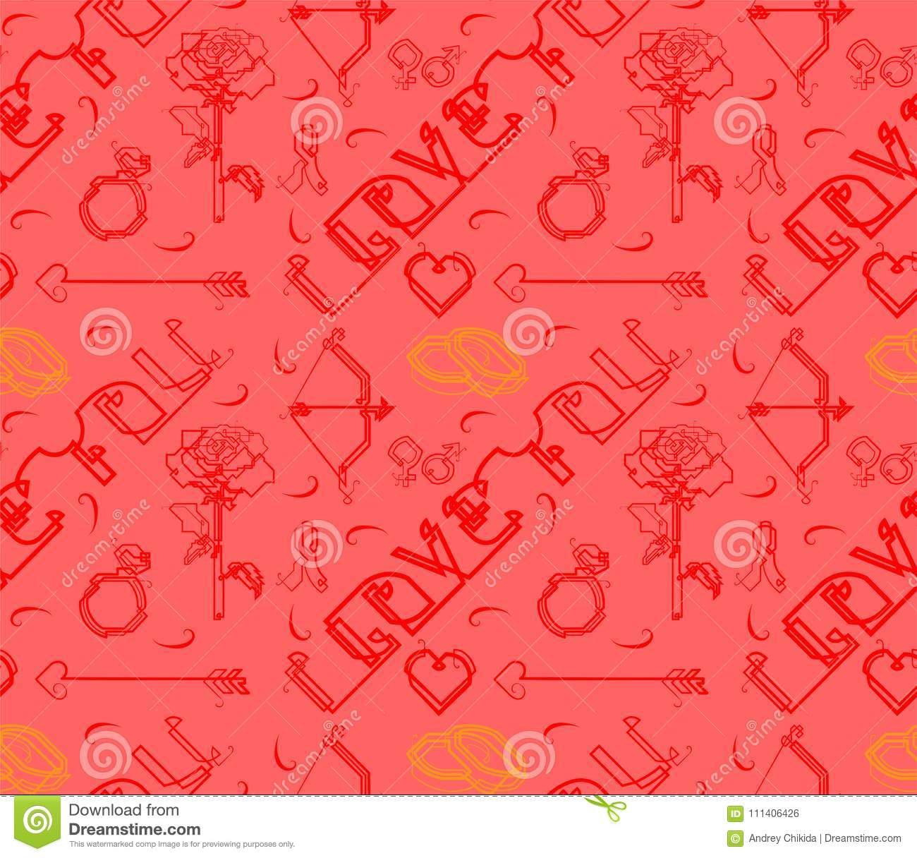 Background The Flowers Heart The Arrow Of Cupid By The Graphical