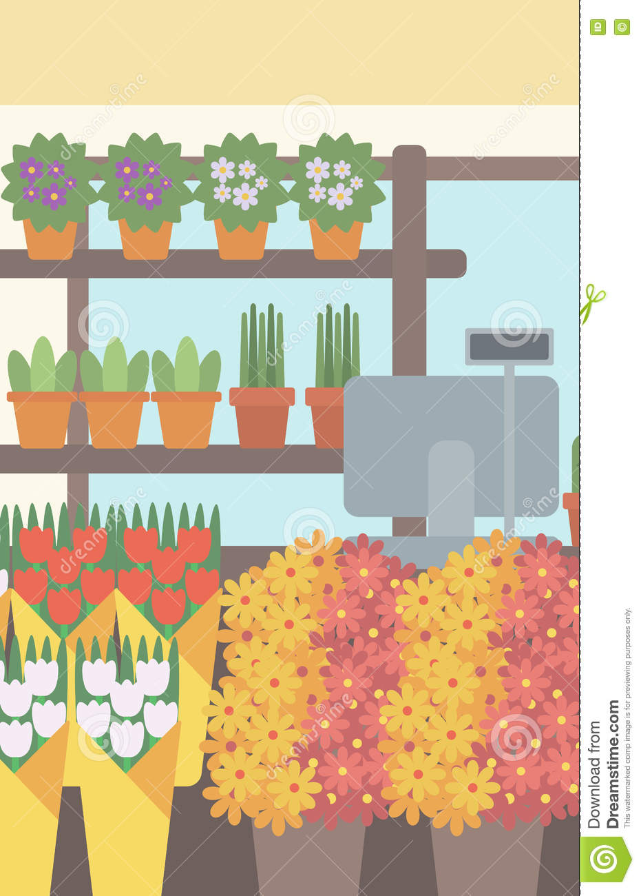 Background of flower shop stock vector image 72671454 for Flower shop design layouts