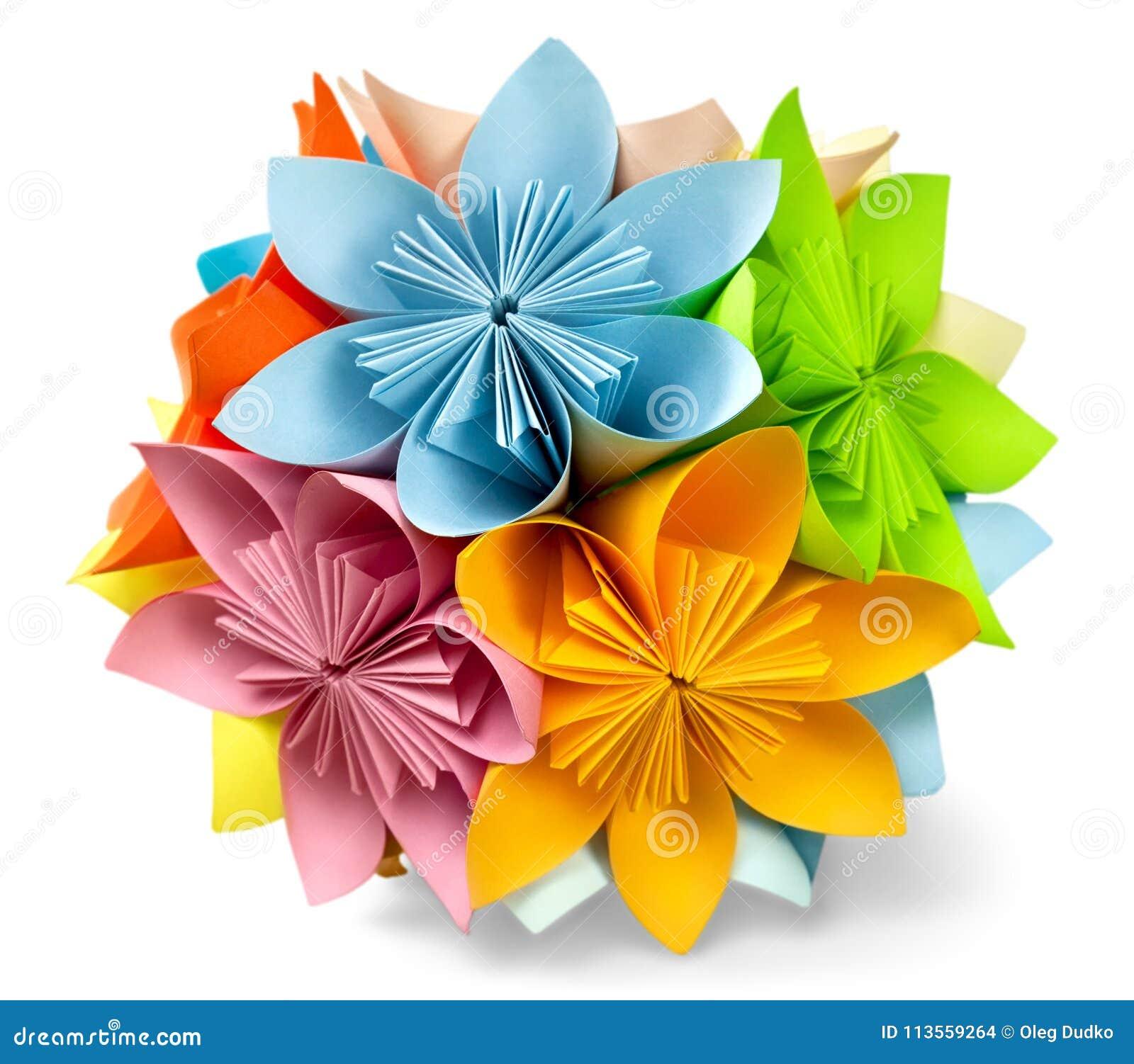 Colorful Flower Origami Isolated Image Stock Photo Image Of