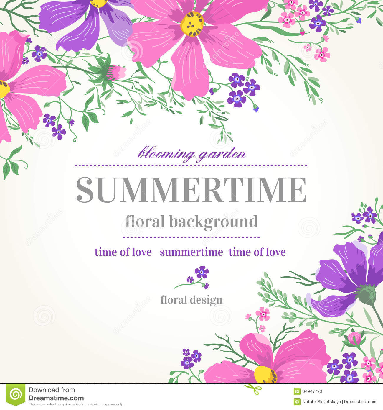 Download Pink Flower Wedding Vector Invitation Flowers: Background With Flowers. Stock Vector