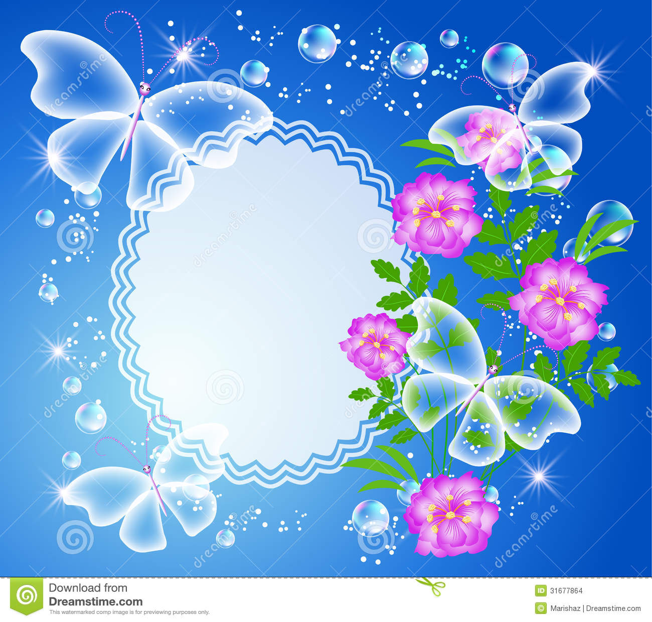 Background With Frame, Flowers And Butterfly Stock Vector