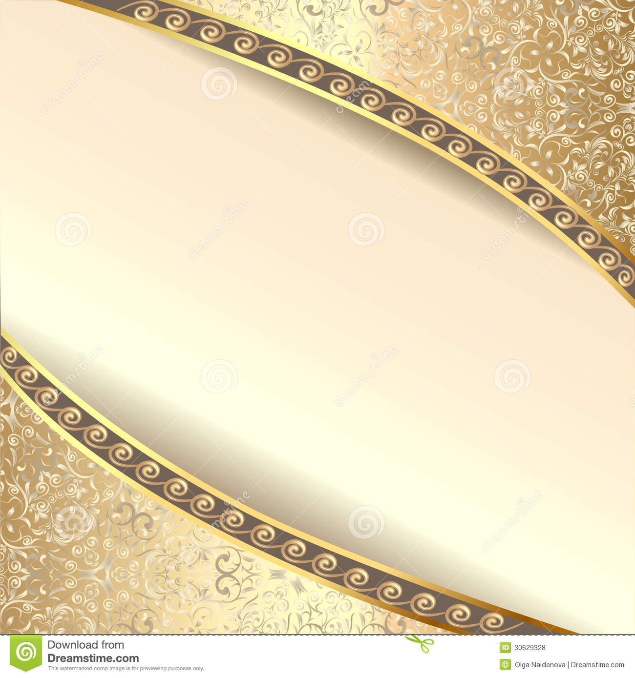 Background Frame With Flowers Of Silk With Gold Gl Royalty
