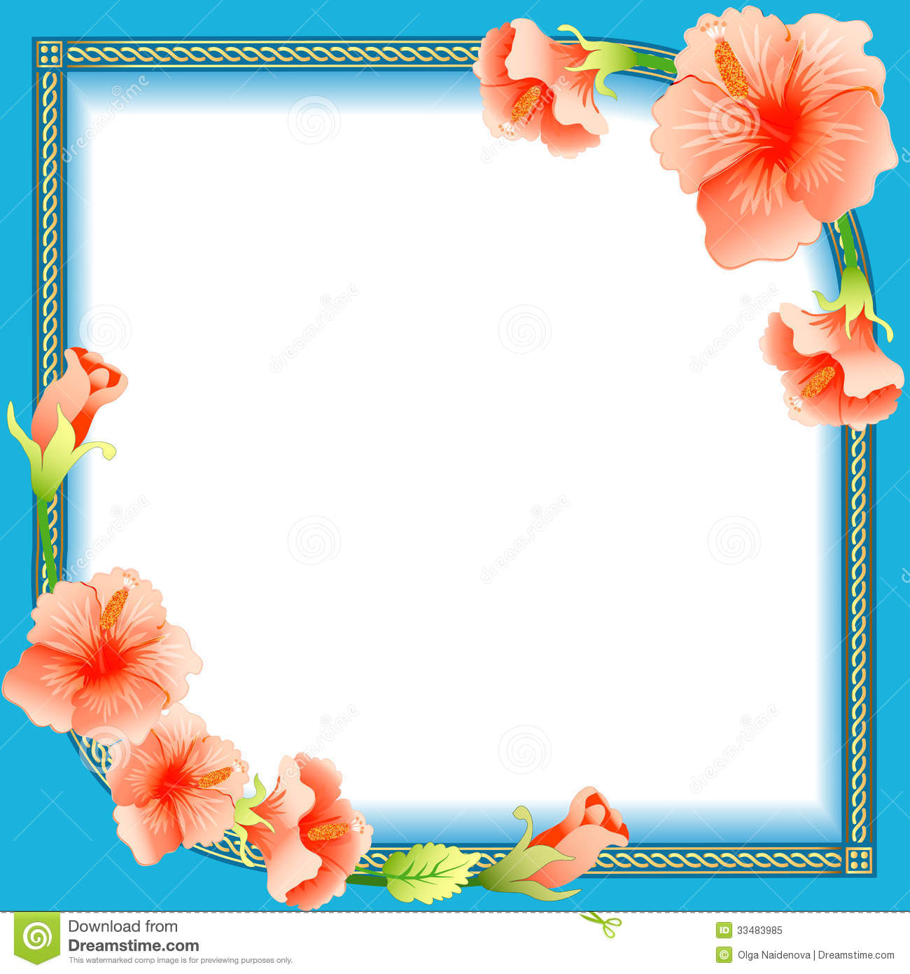 Background Frame With Ornament And Flowers Stock Vector ...