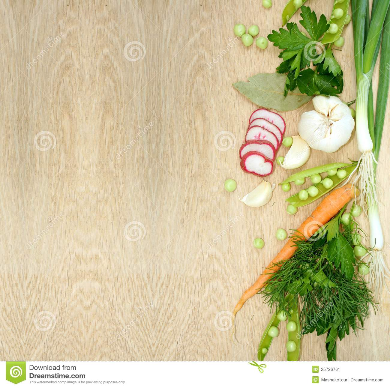 Background With Fresh Vegetables On Wooden Texture Stock