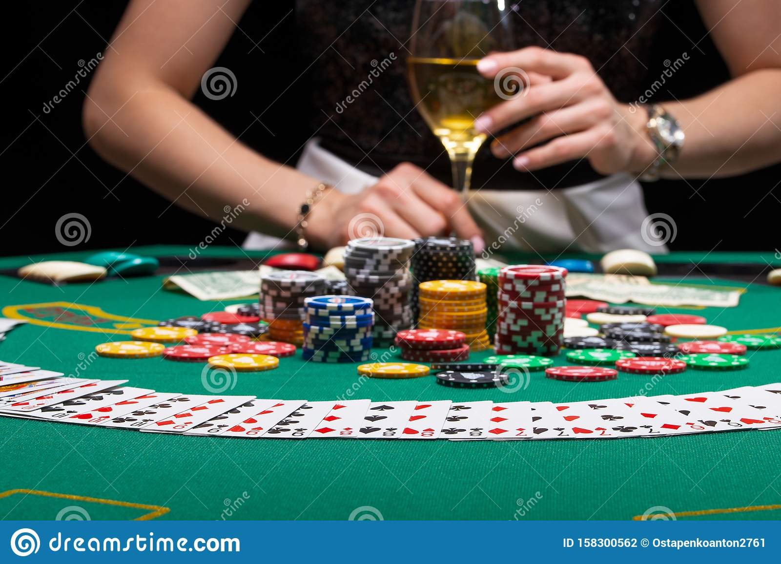 Background Of A Gaming Casino, Poker Table, Cards, Chips ...
