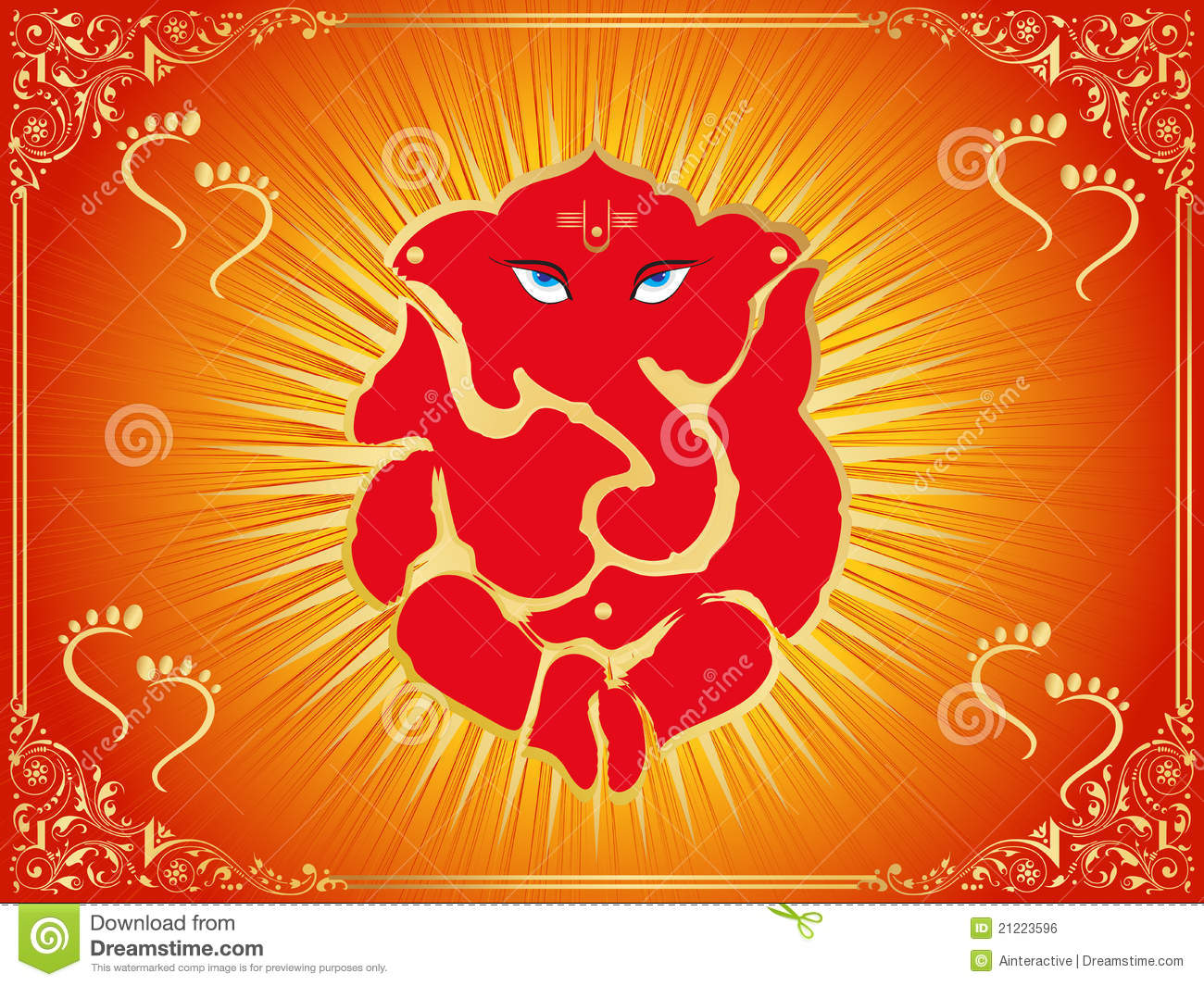 Background with ganpati footprints stock vector image for Background decoration for ganpati
