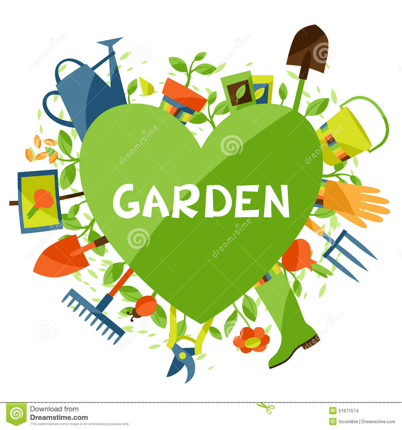 Background with garden design elements and icons stock for Garden design elements