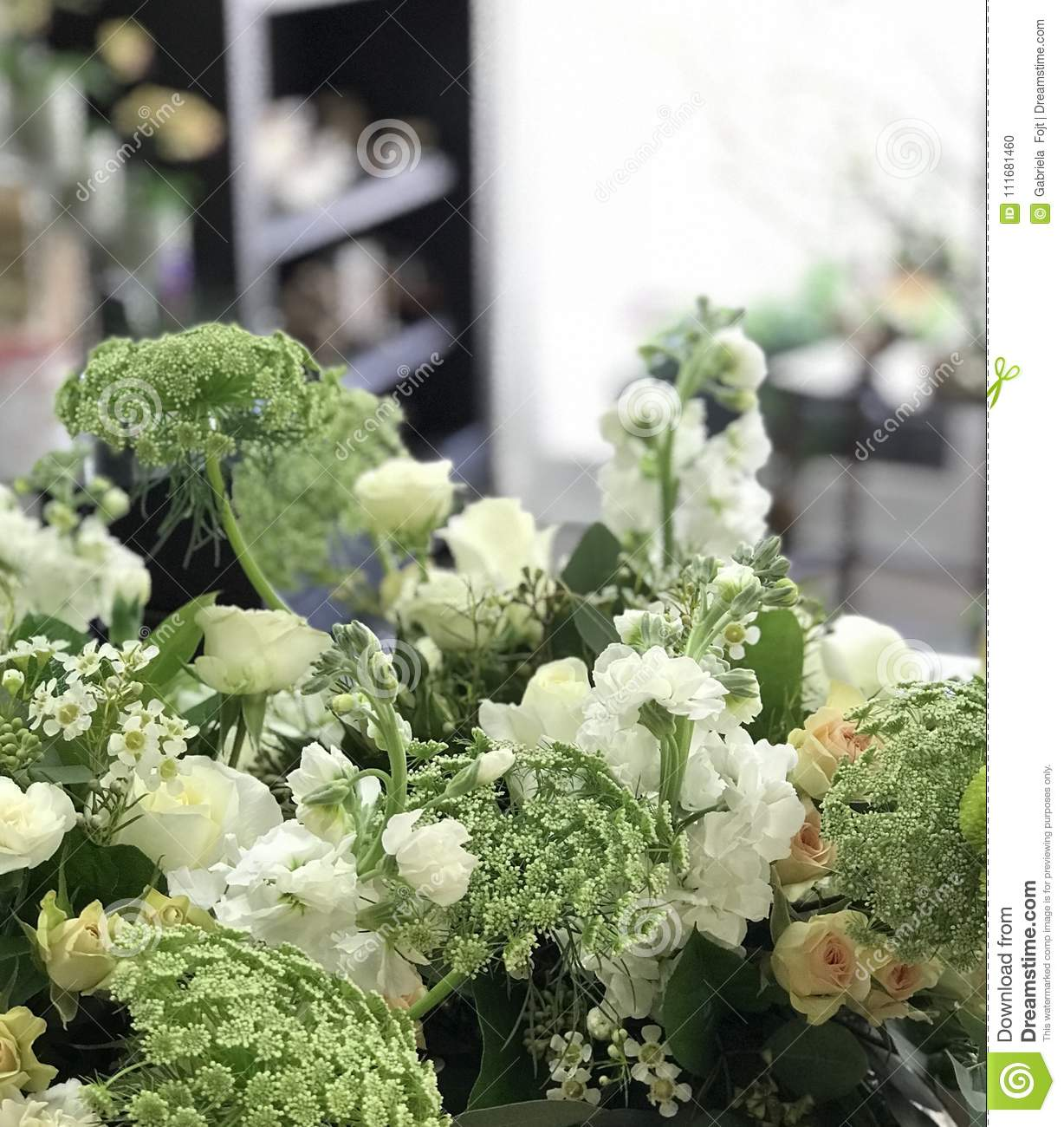 White And Green Flower Arrangement Stock Photo Image Of Color