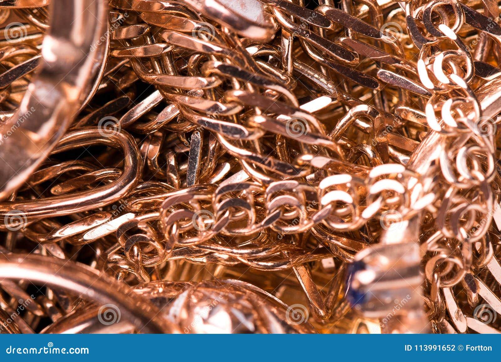 Gold jewelry close-up