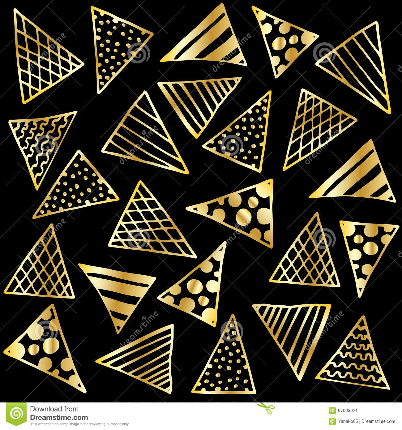 background gold triangles on black stock vector image