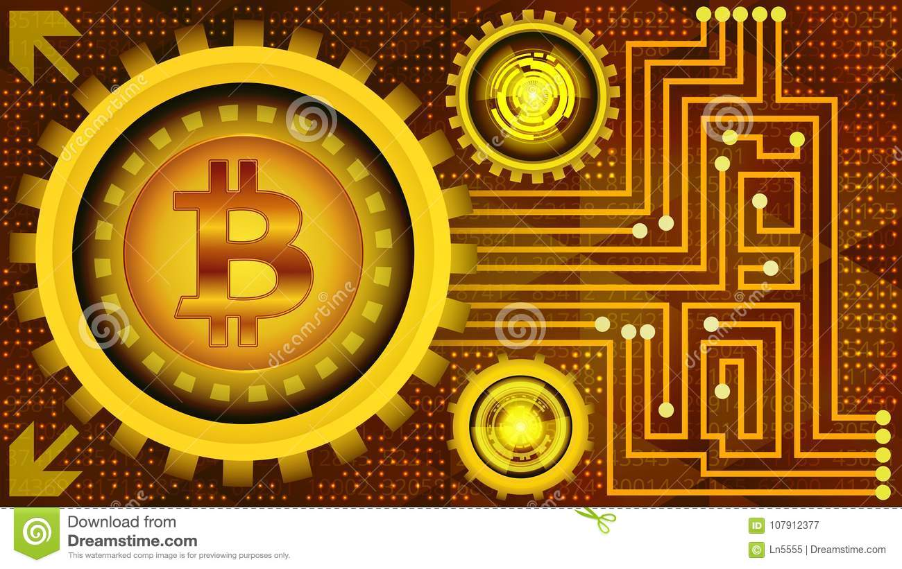 Golden Bitcoin Digital Currency With Gears Binary Code And Circuit Royaltyfree Images Board Royalty Free Stock Photo Elements Mining