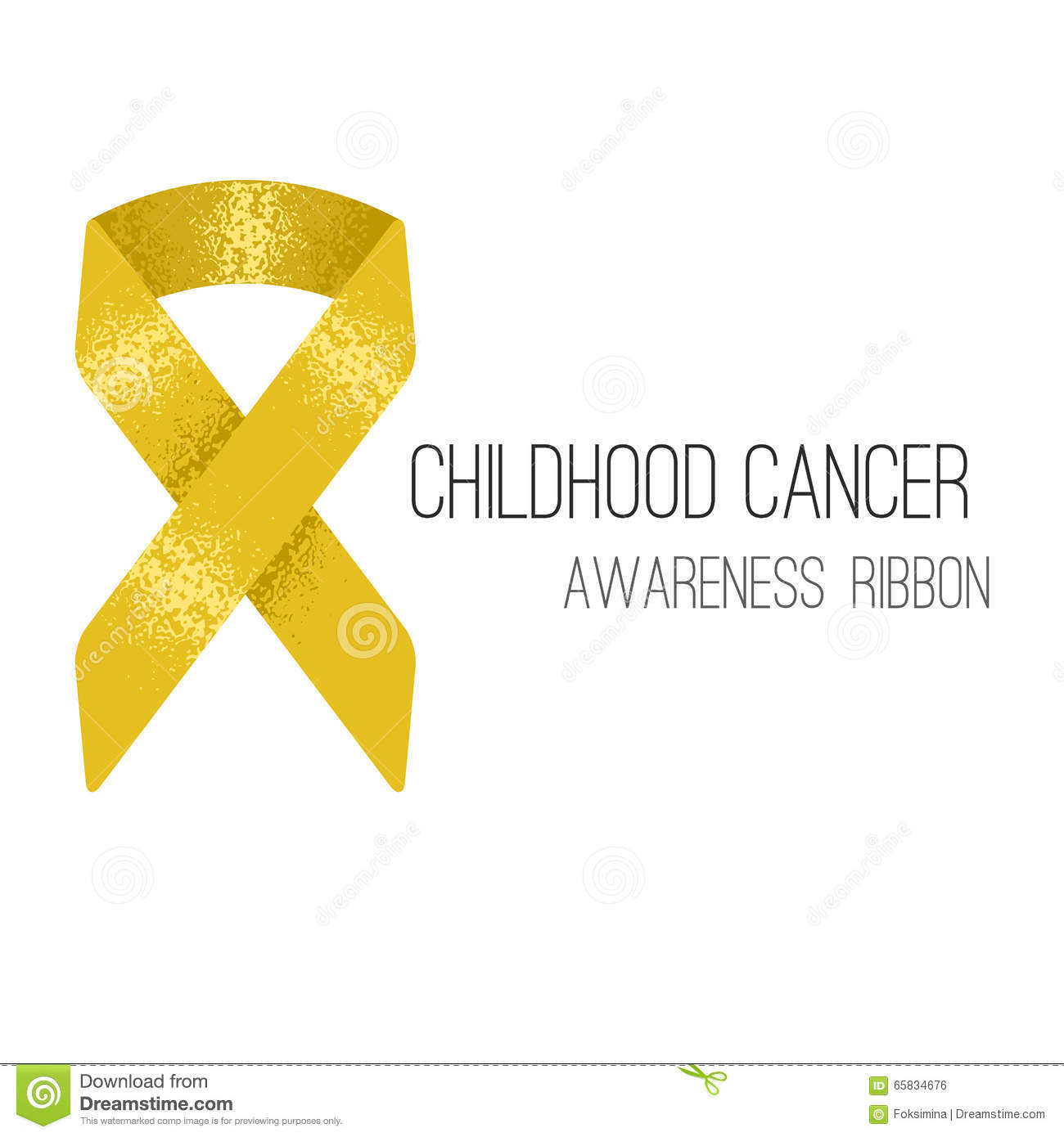 Childhood Cancer Awareness Gold Ribbon Background Stock Vector