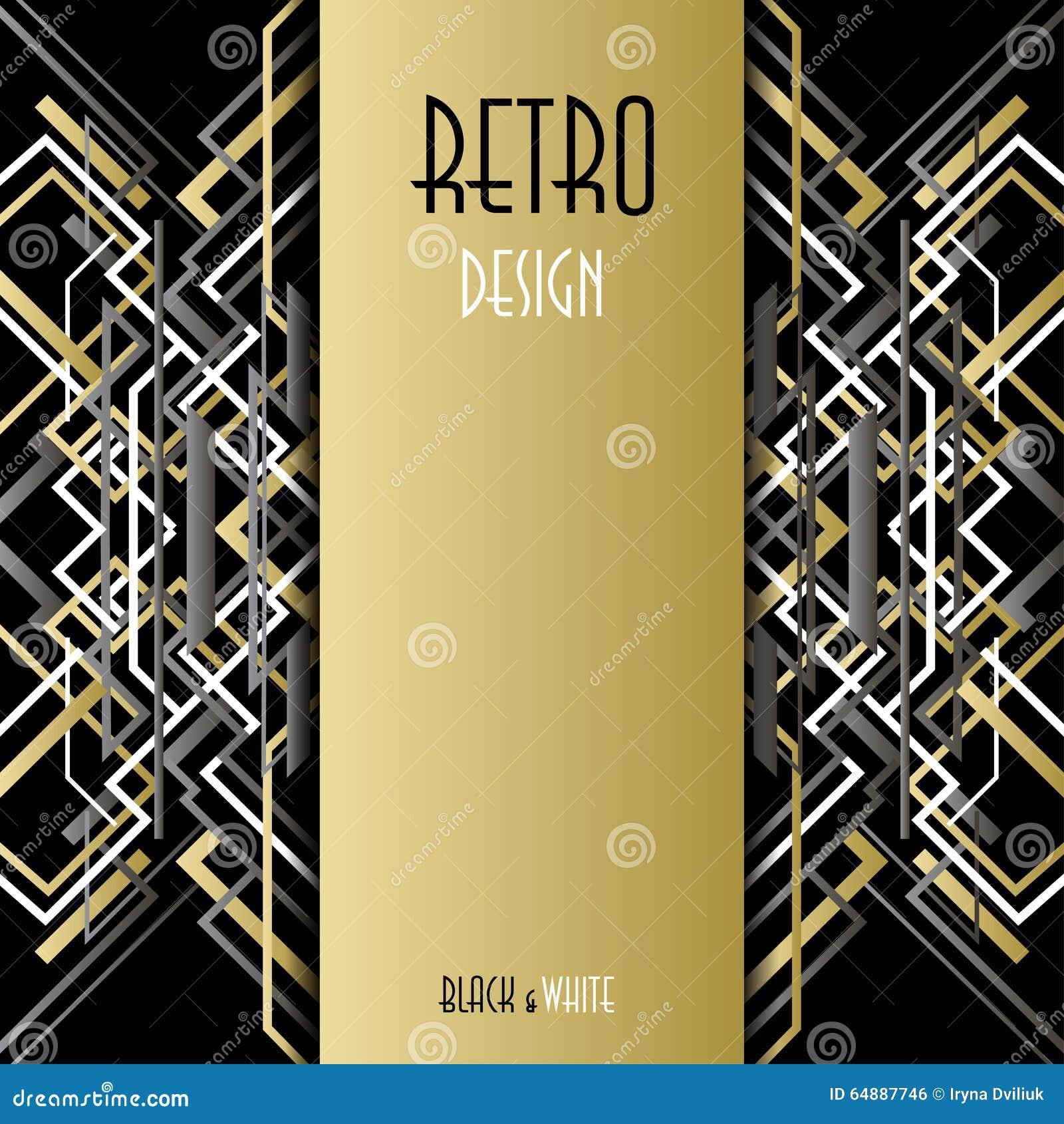 Background image vertical center - Background With Golden Silver Black Art Deco Outline Style Design Stock Vector