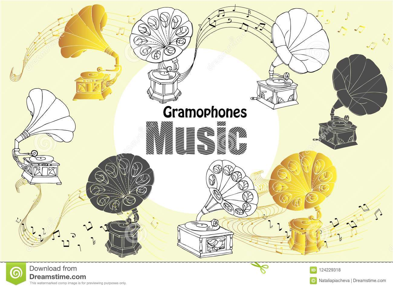 Hand drawn sketches old record player vector music illustration