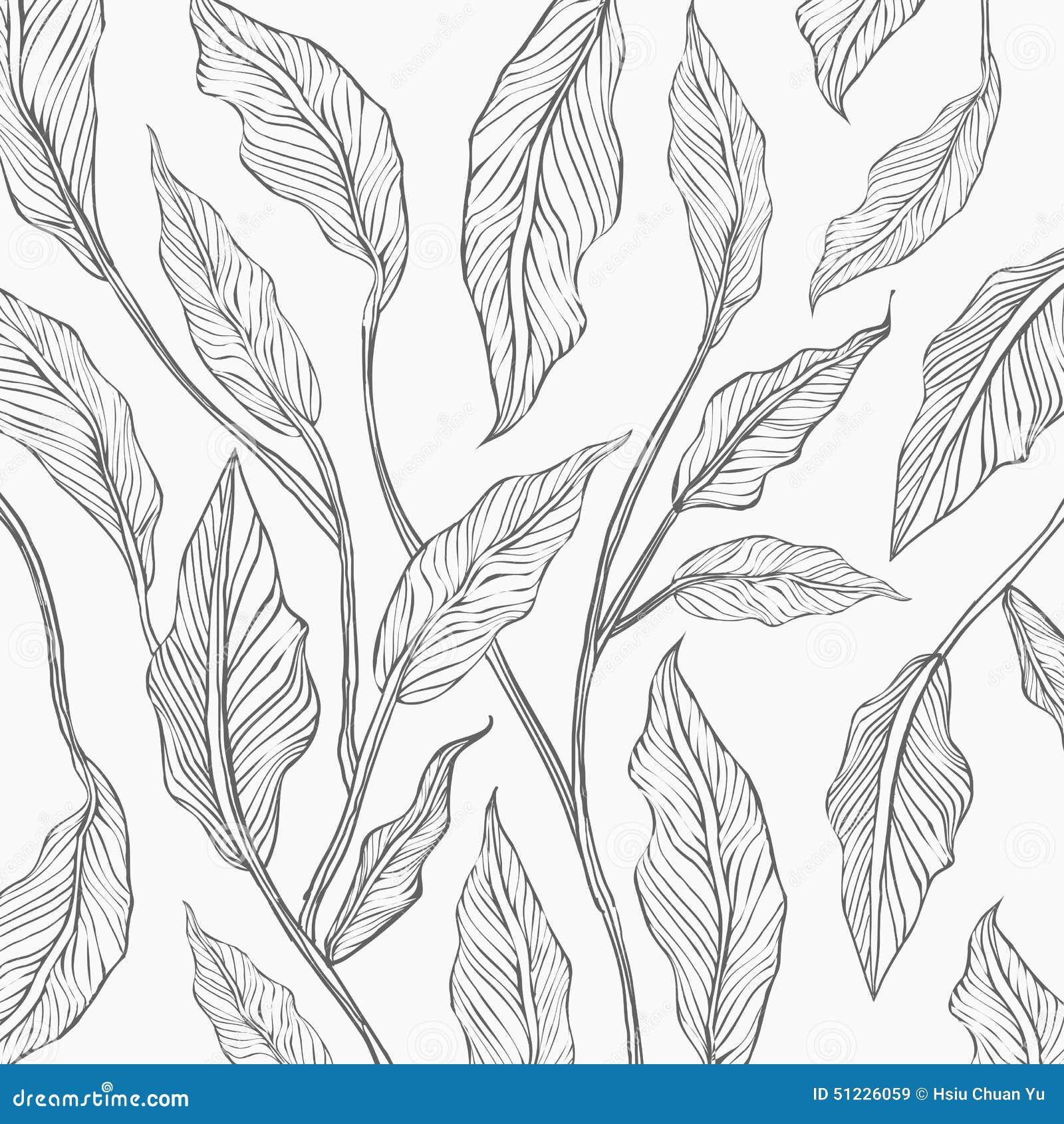 Background Of Gray Line Leaf Sketch Stock Vector - Image