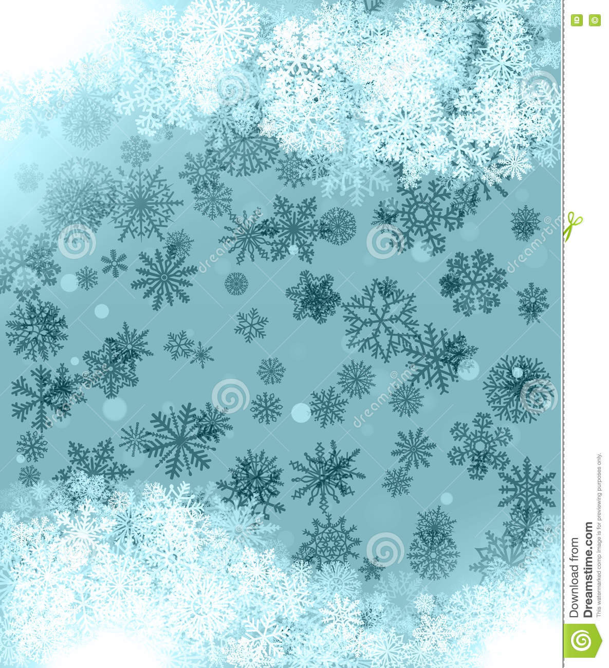 Background Green For Greeting Cards With Snowflakes And Abstract