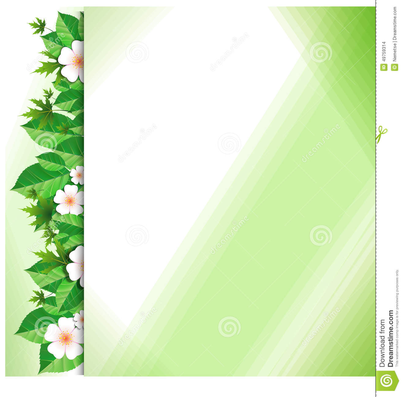 background with green leaves and flowers stock vector