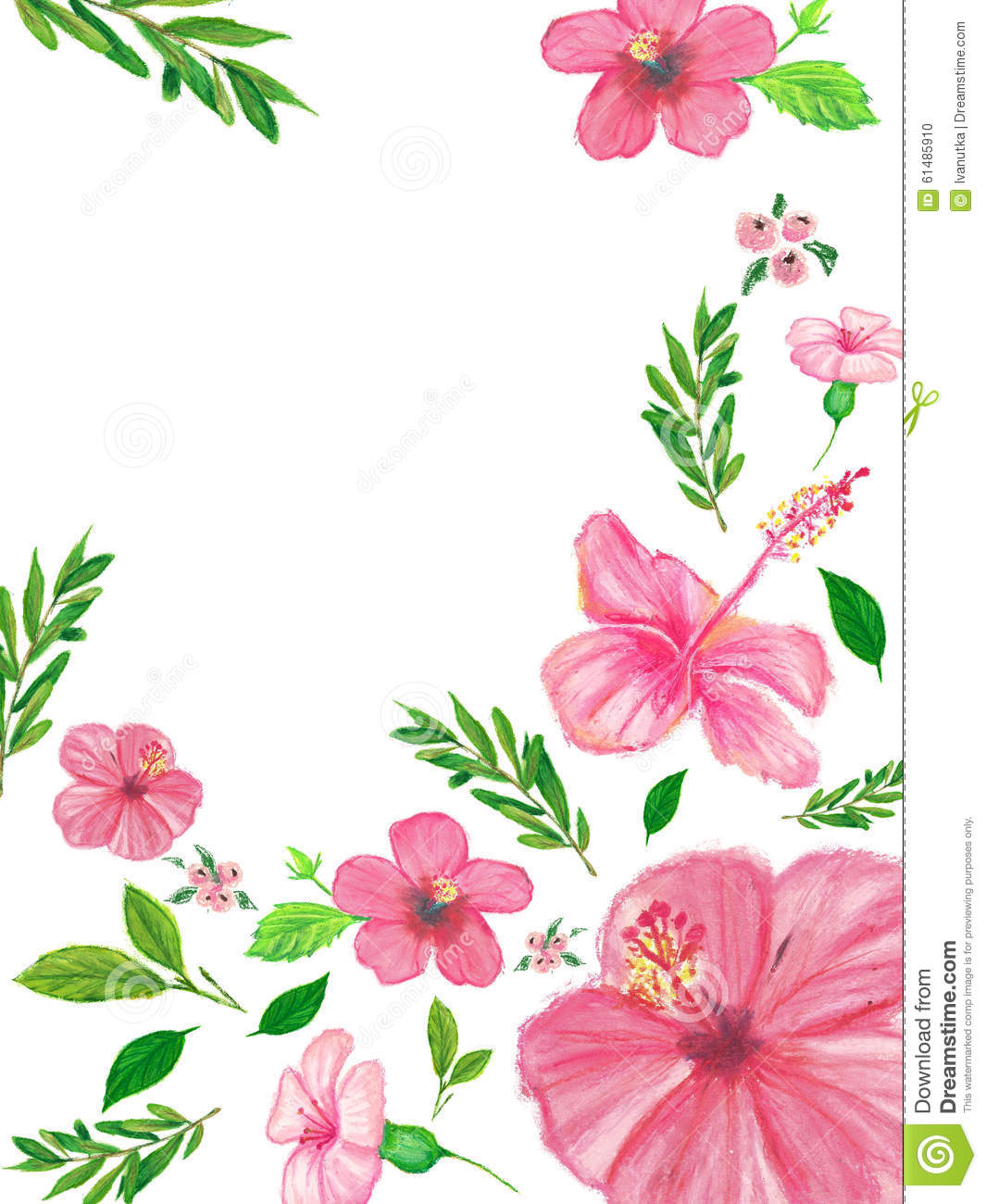 Background with green leaves and pink flowers hand painted with oil download background with green leaves and pink flowers hand painted with oil crayons stock illustration mightylinksfo