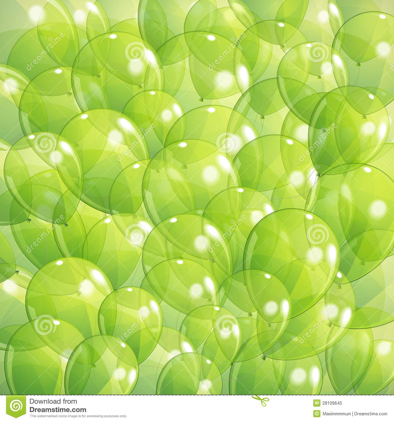 Background With Green Transparent Balloons Royalty Free Stock Photo