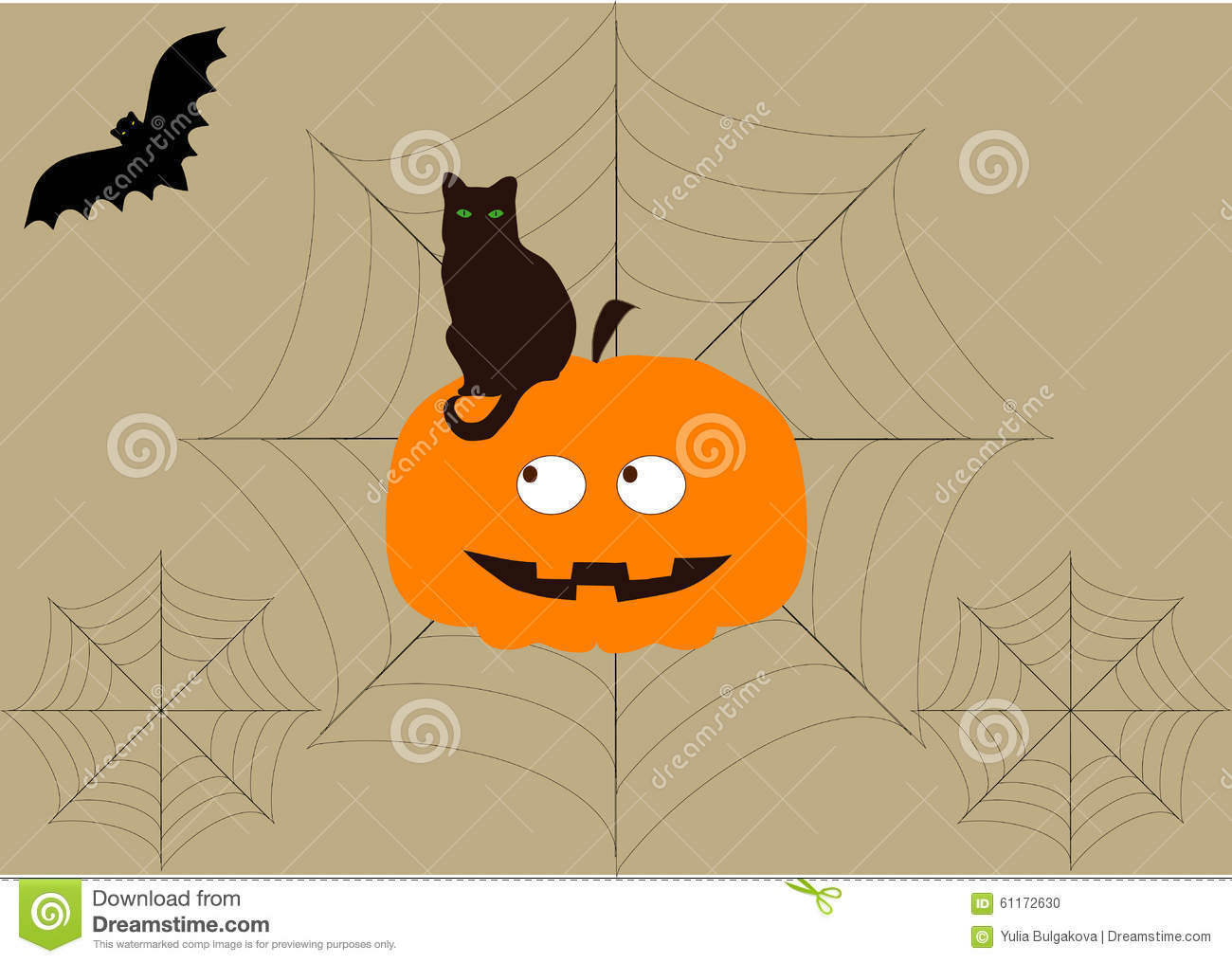 Background On Halloween With Bat,cat, Pumpkin And Cobwebs Stock ...