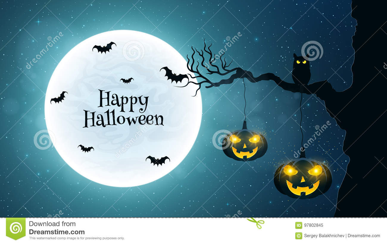 Background for Halloween. Black owl sits on a tree. Bats fly against the background of the full moon. Halloween pumpkins with glow