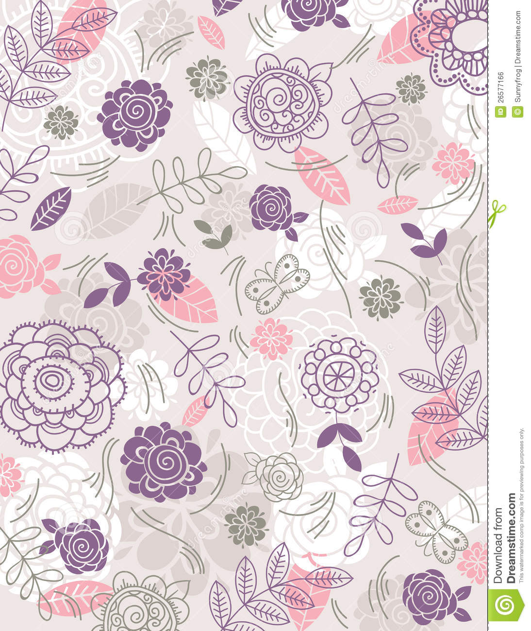 Background Of Hand Draw Flowers Vector Stock Vector