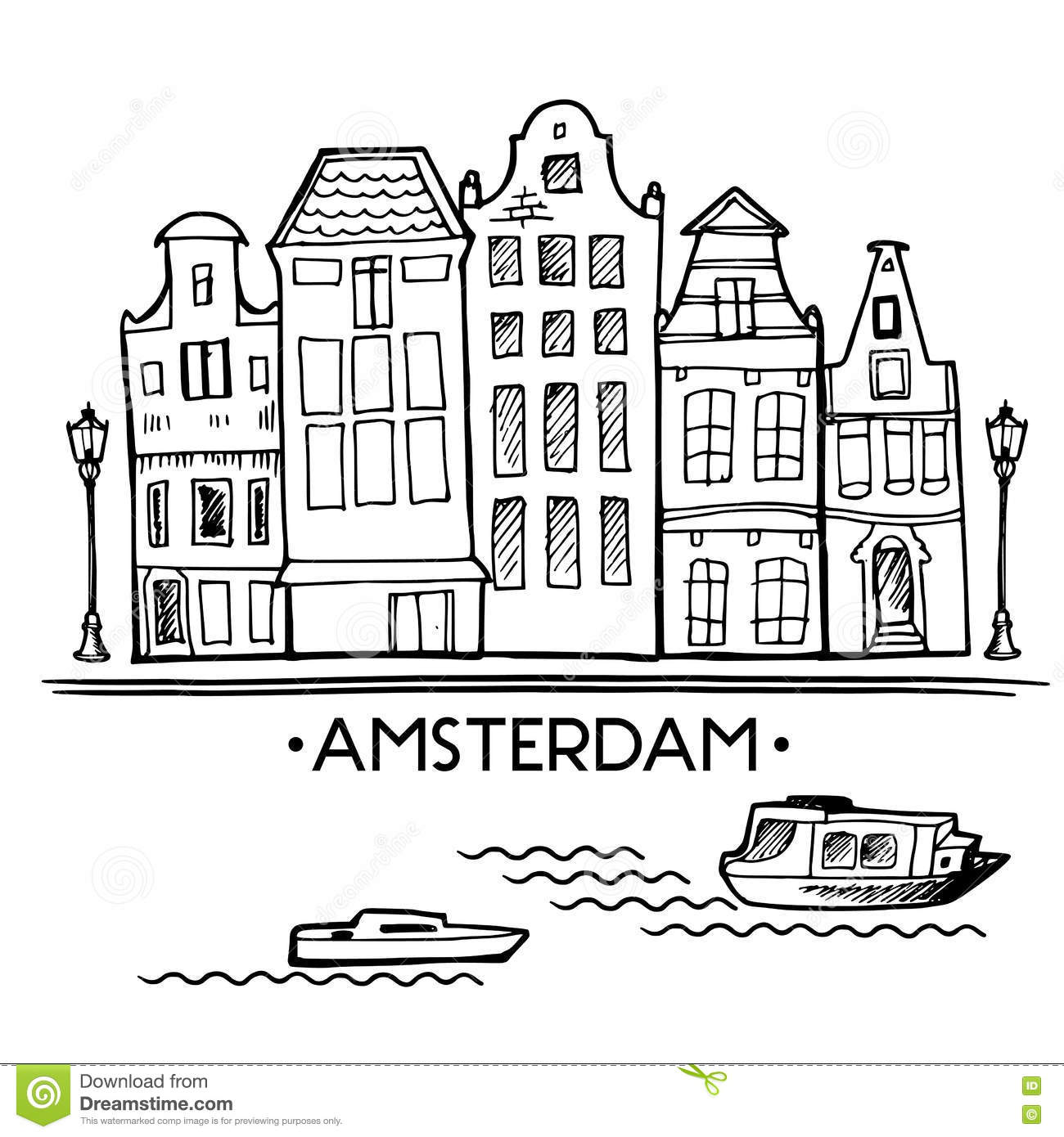 Background with hand drawn doodle Amsterdam houses. Isolated black and