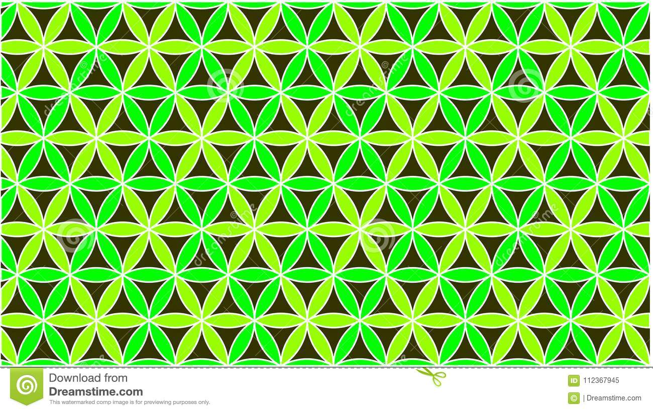 The background has colored circles in green and they are interlaced to form a beautiful shape