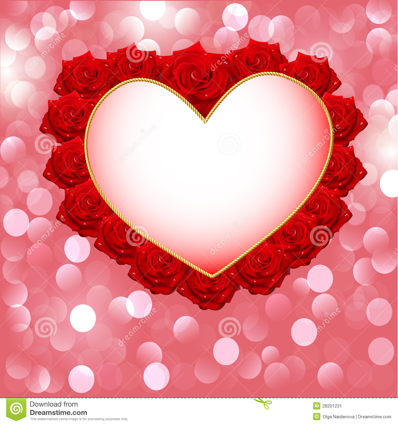 Background with heart made of roses for wedding invitation for Love in design
