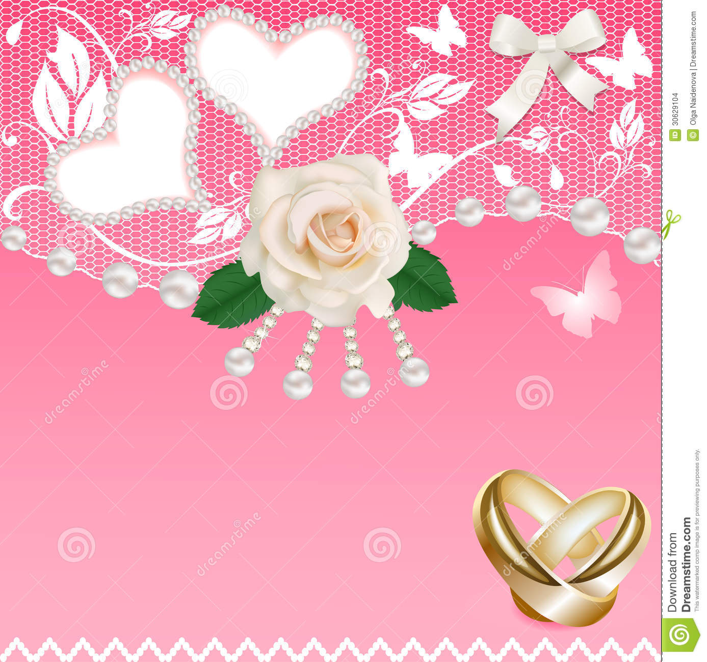 Background With Heart Rose Wedding Rings And Pearl Stock Vector ...