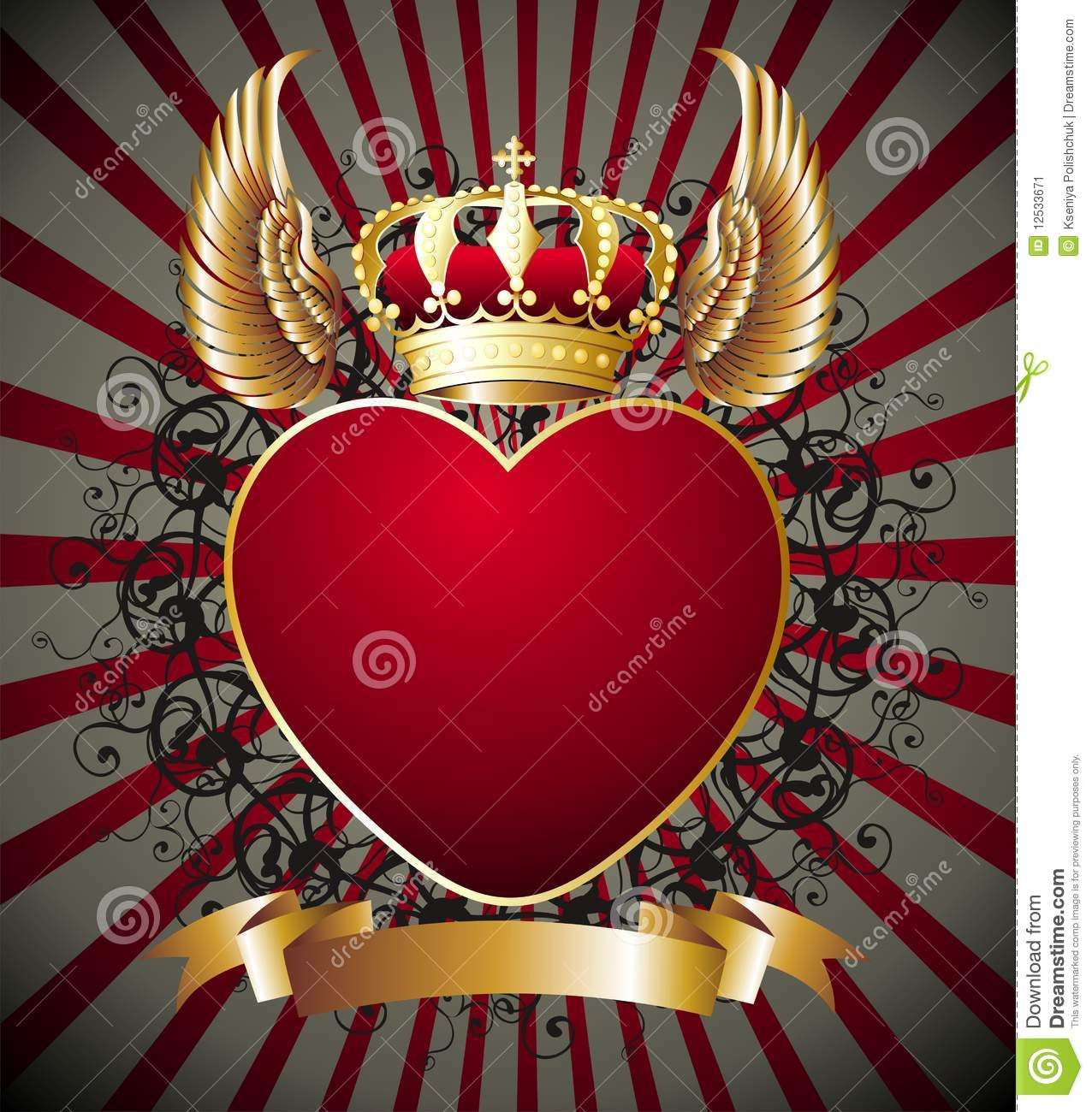 Background With Heart Wings And Gold Royal Crown Stock