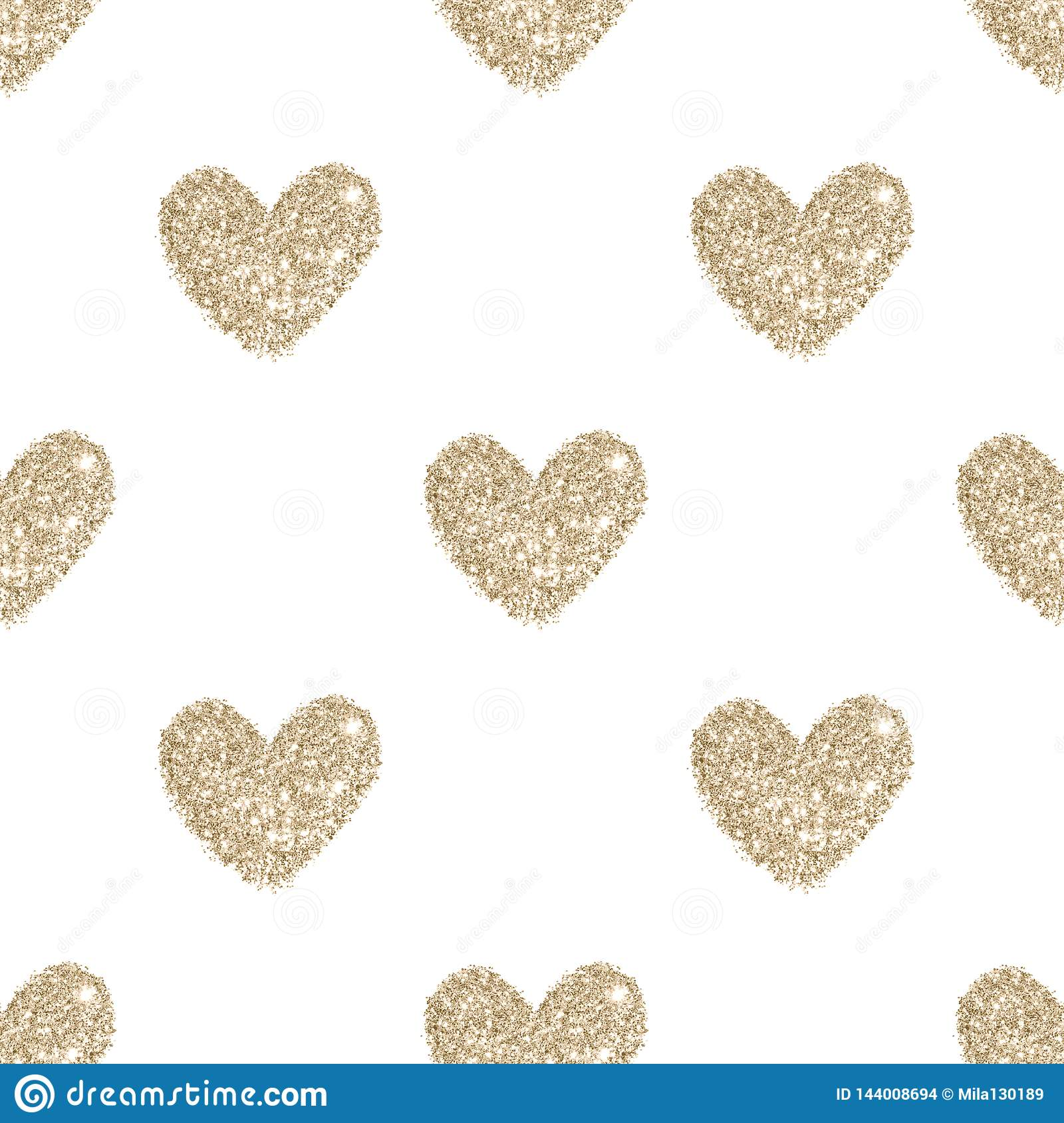 Background with hearts of golden glitter, seamless pattern in vintage colors