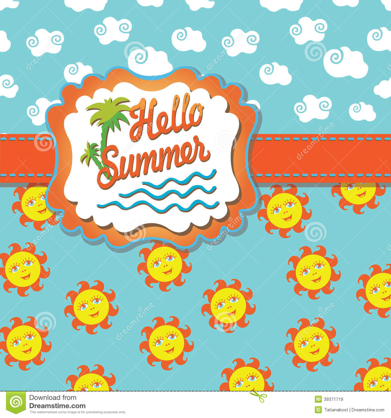 Design template Hello summer with Label, cartoon sun and clouds.The ...