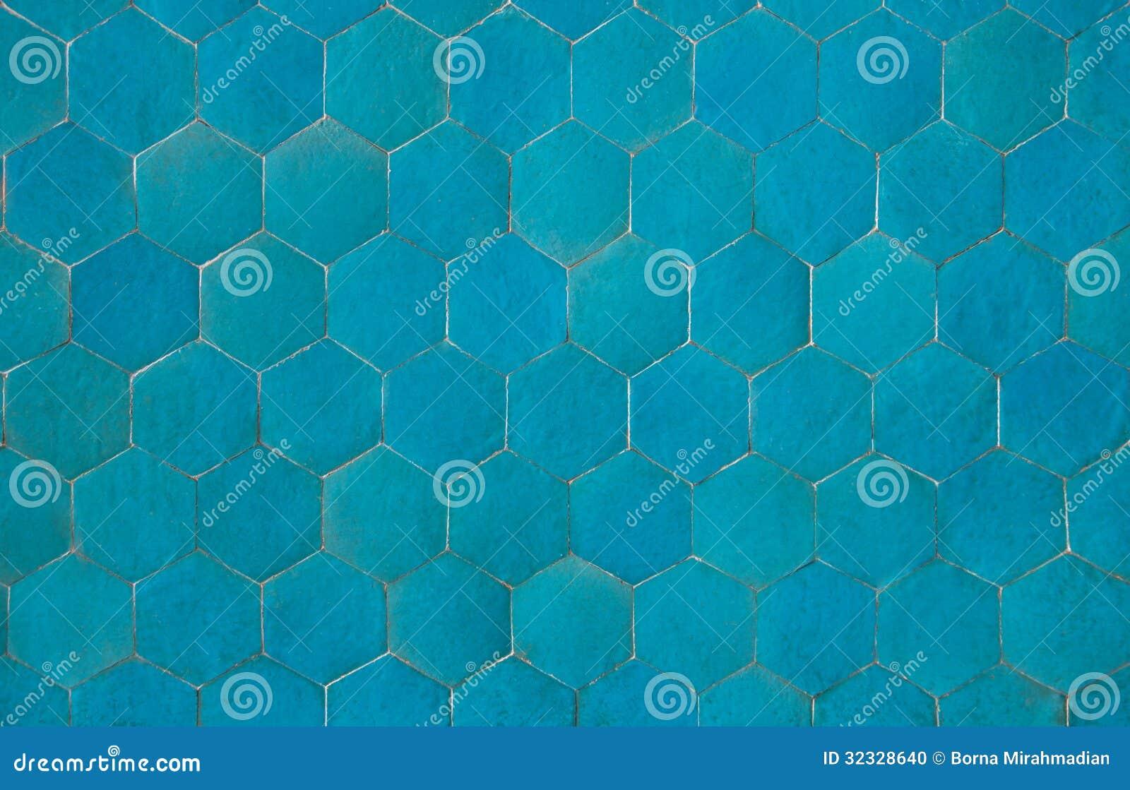 Background Of Hexagonal Blue Tiles Stock Photo Image