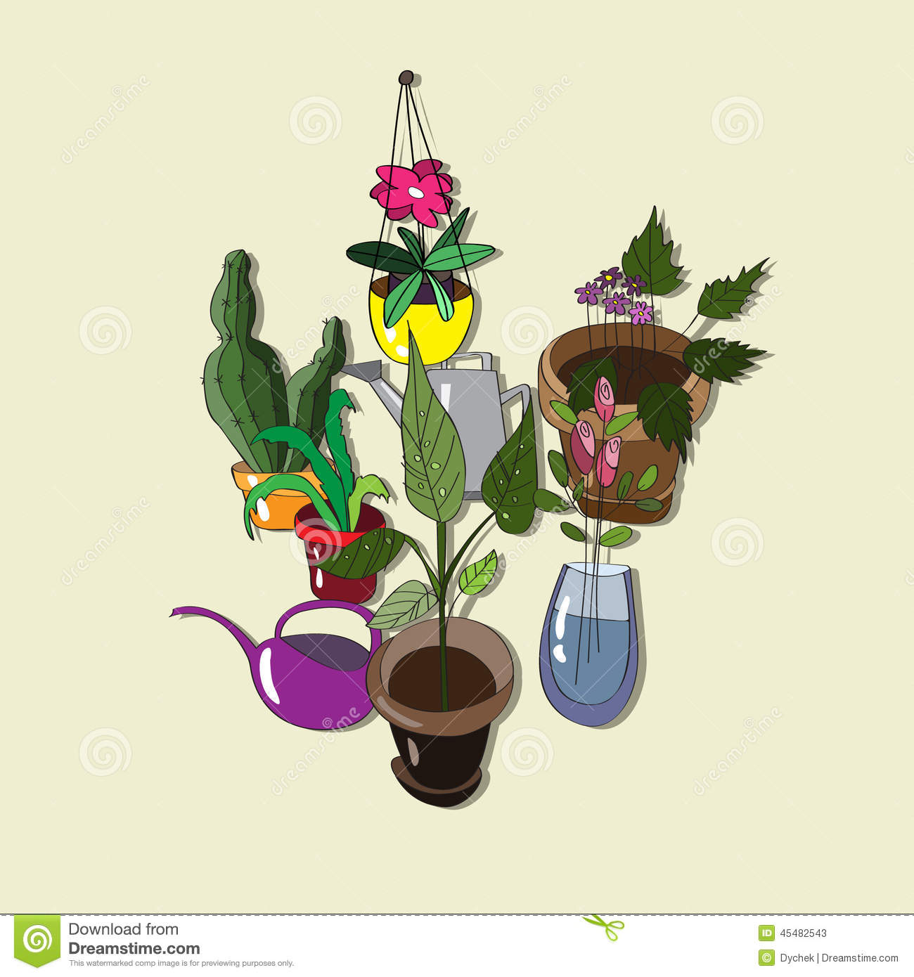background with homemade flowers and watering cans stock vector