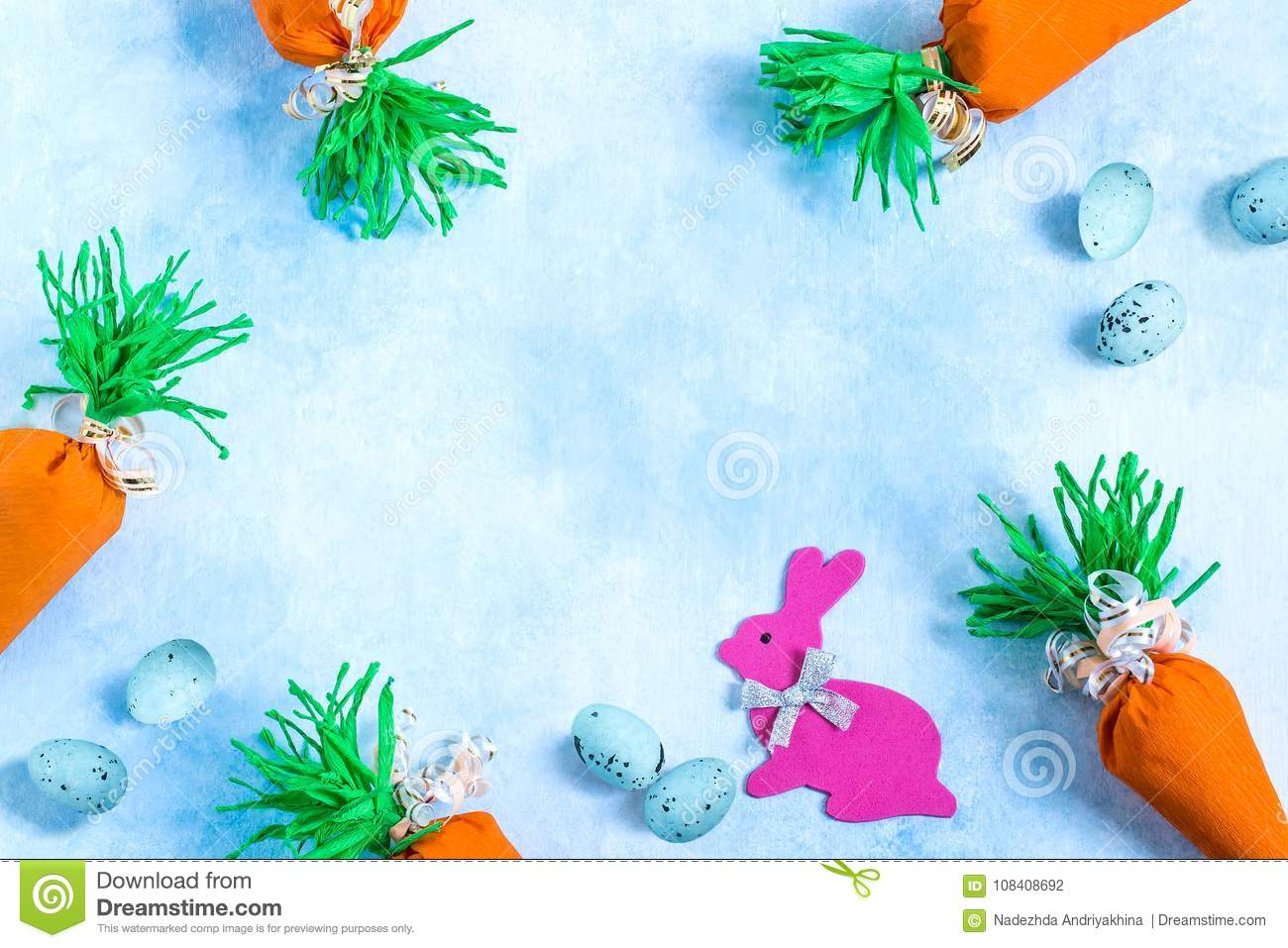 Background With Homemade Package For Easter Sweet Gift In Form O