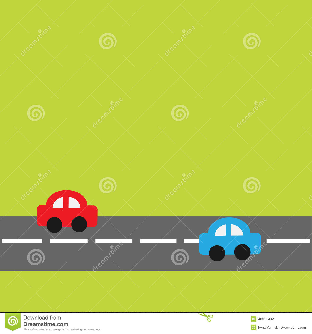 Background With Horizontal Road And Cartoon Cars Stock Vector