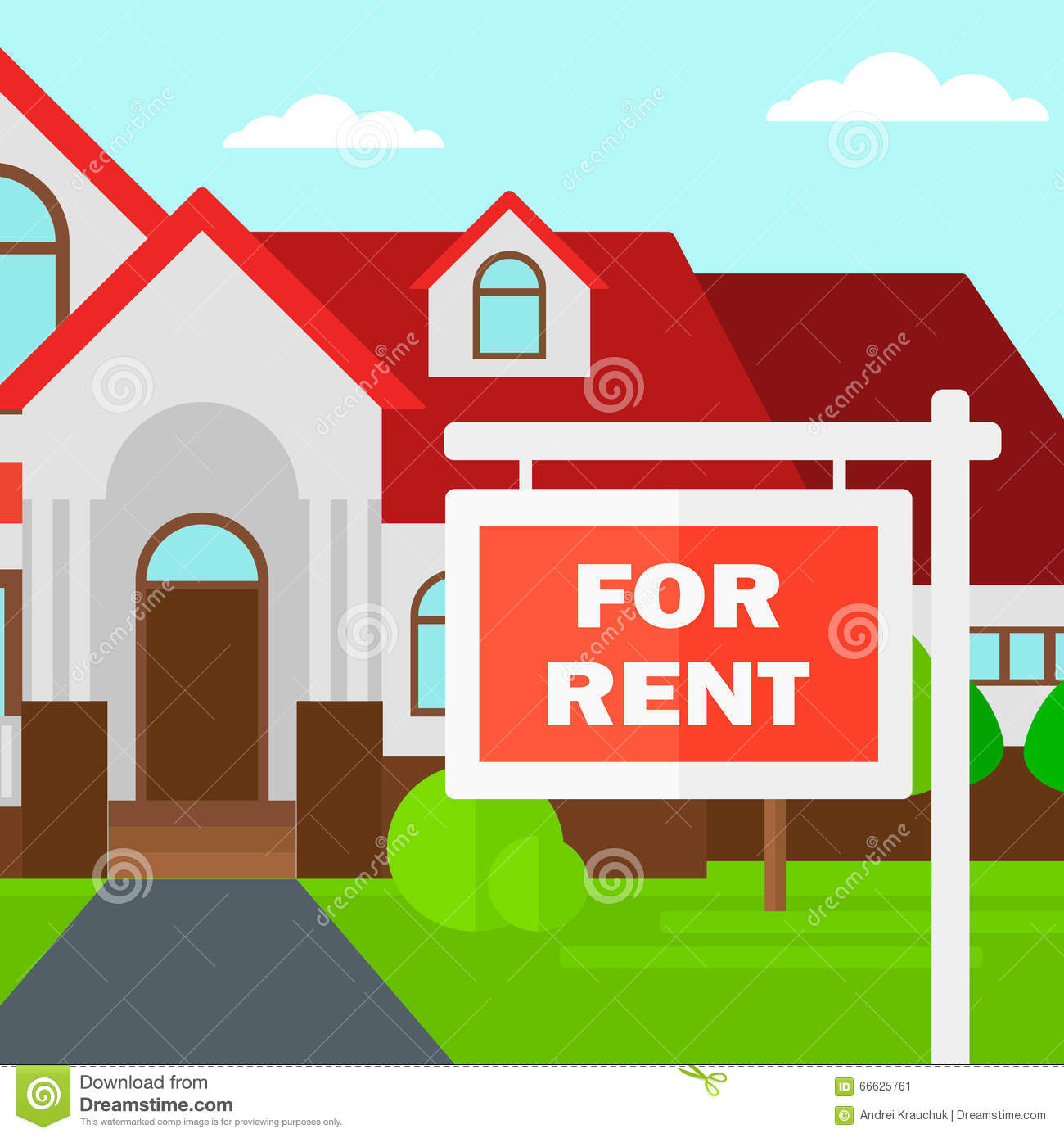 House Rent Com: Background Of House With For Rent Real Estate Sign. Stock