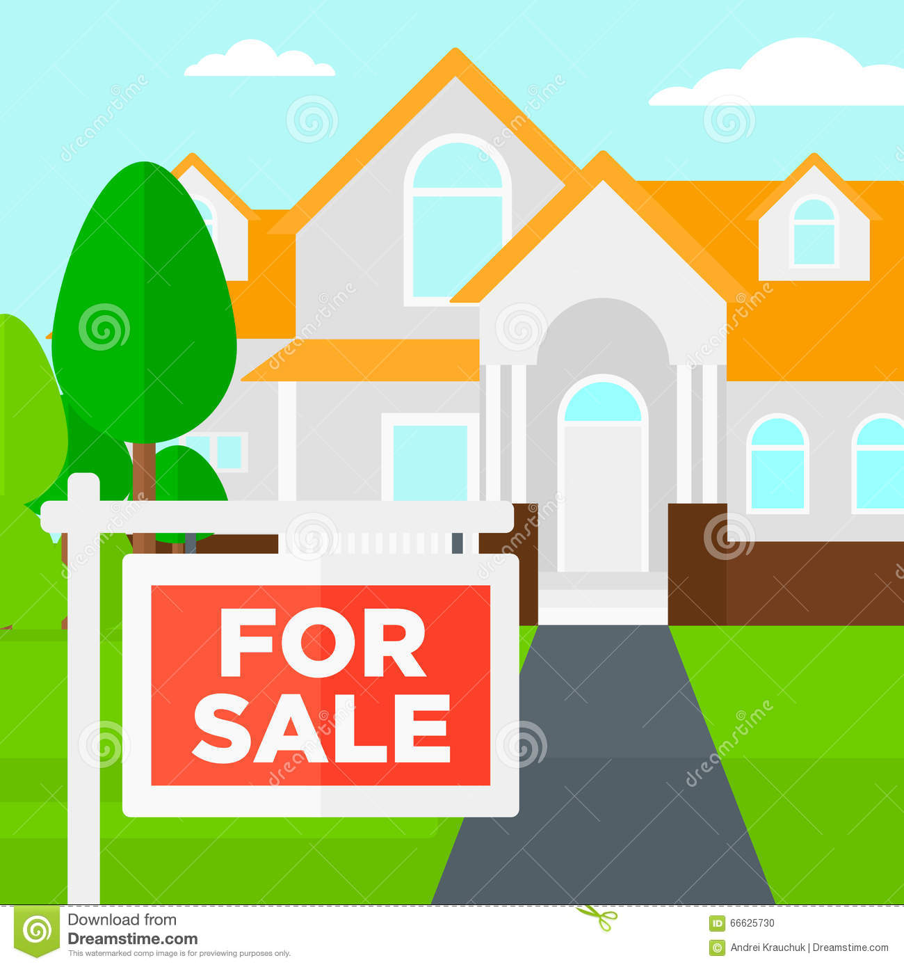 background of house with for sale sign stock vector