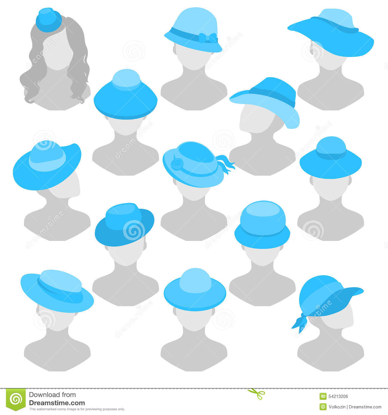 Different Hat Styles: Background Illustration Of Different Women's Hats In A