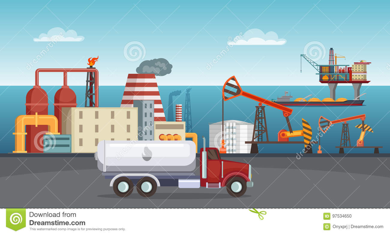 Background illustration of petroleum industry. Oil refinery, terminal of production
