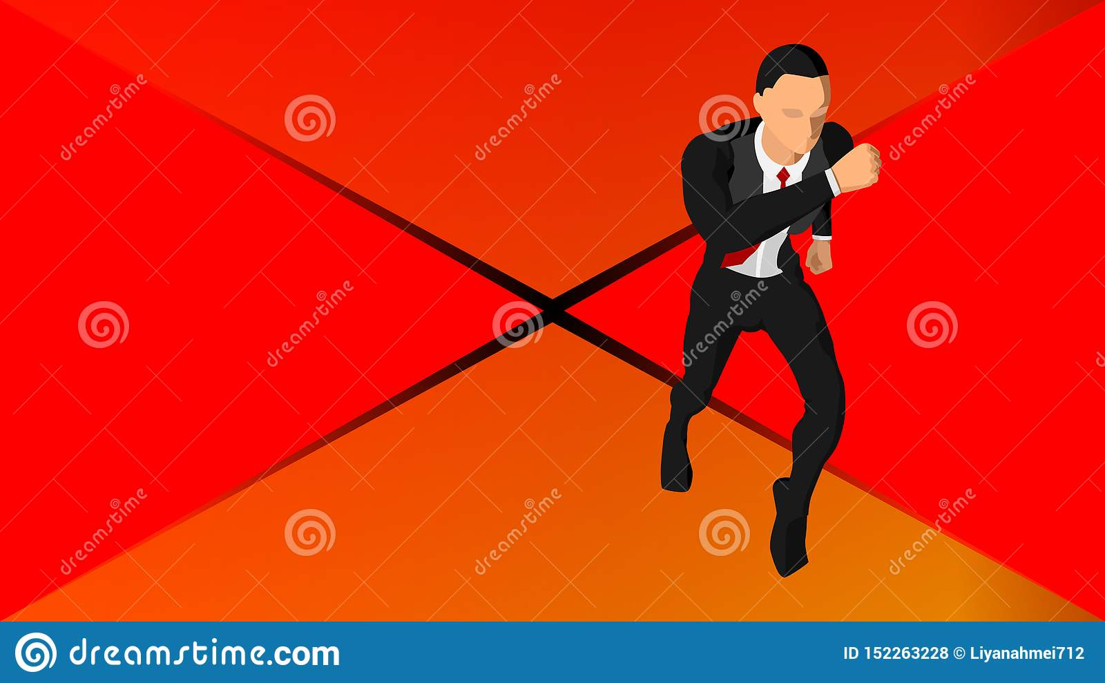 Background with illustrations of a running businessman. Eps 10