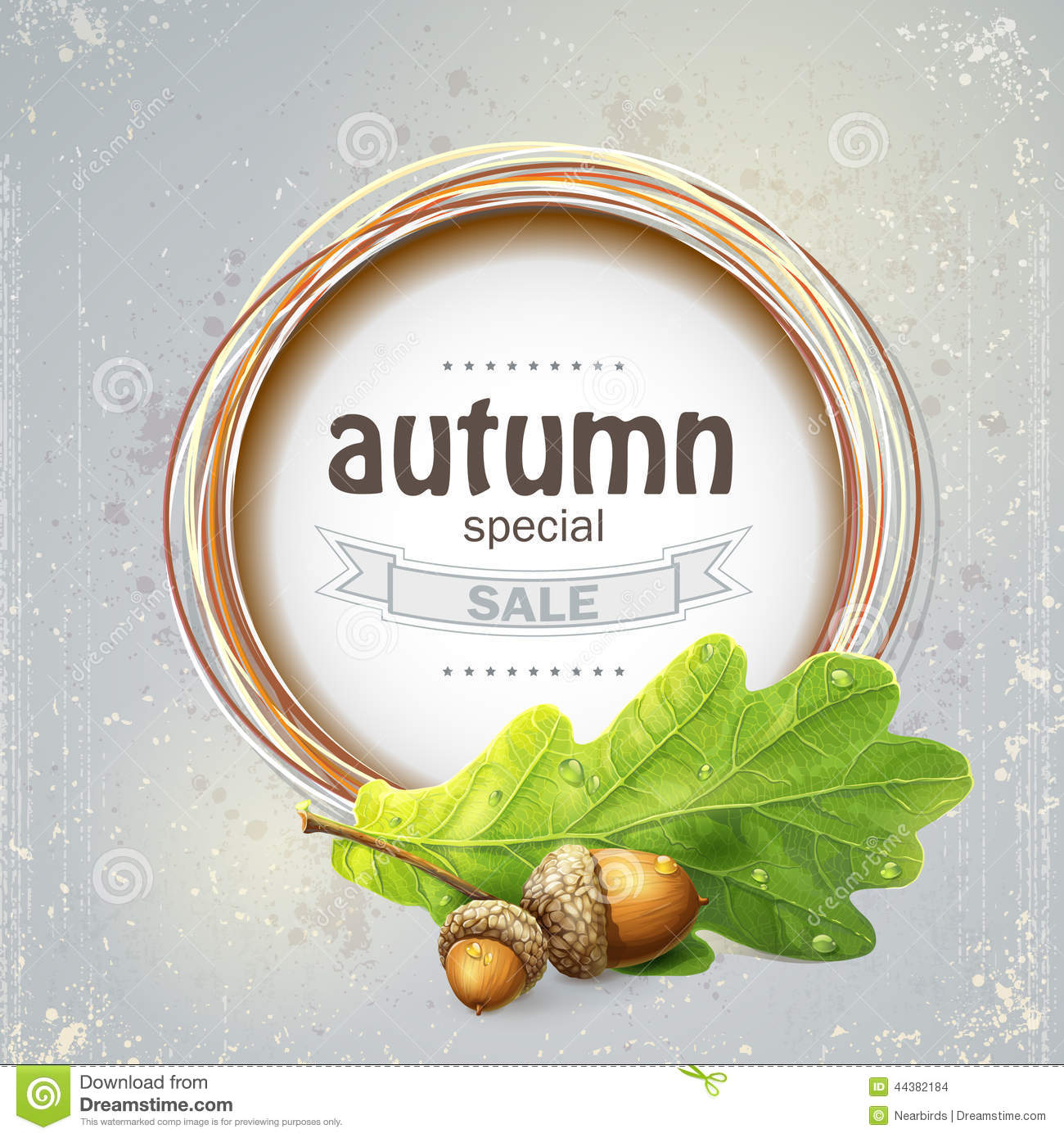 Background image for the big autumn sale with oak leaves with acorns