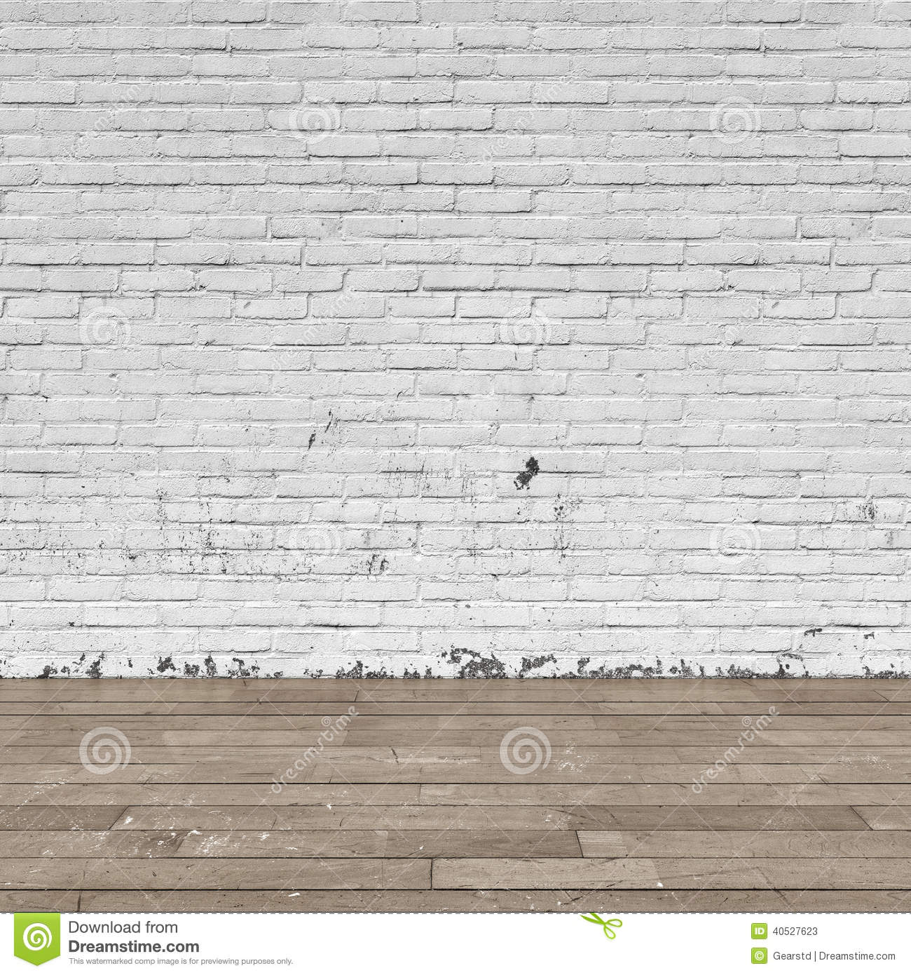 Background Interior: Brick Wall And Wood Floor Stock Illustration ...