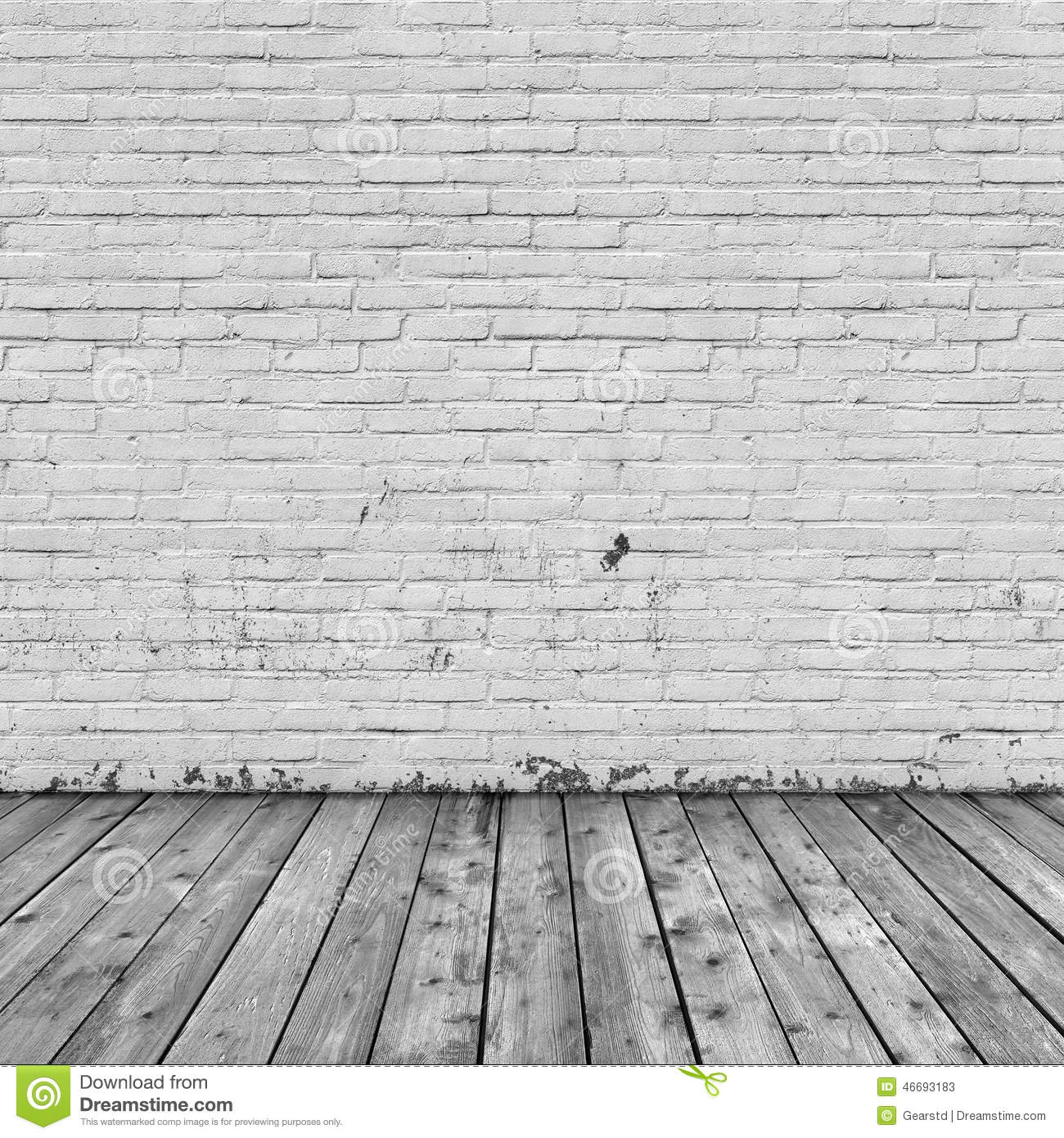 Background Interior: Brick Wall And Wood Floor Stock Photo - Image ...